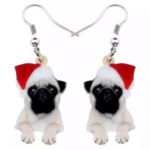 🎄🎄🎄 Acrylic Santa Hat Pug Earrings